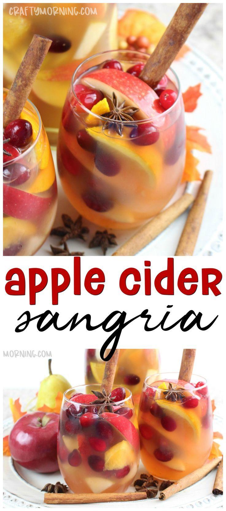 Machen Sie dieses köstliche Apfelwein Sangria Getränk für den Herbst! Lecker und erfrischend ...