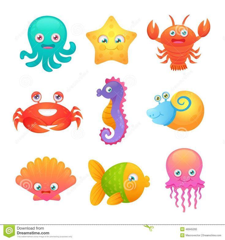 Cute Cartoon Sea Octopus | Cute sea life creatures cartoon animals set with fish octopus ...
