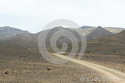 Road through the desert and view of the mountains and deserts in Morocco. Africa.