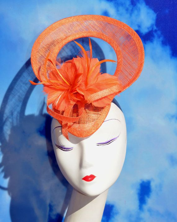 Bright Orange Oval Window Fascinator Hat - For the Races, Ascot, Weddings…