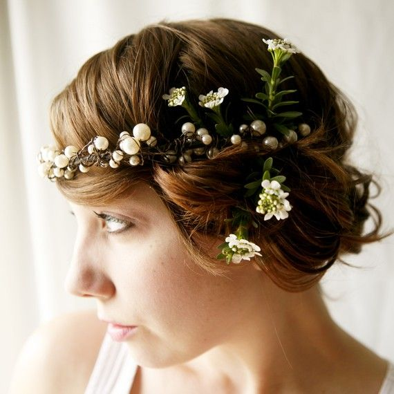 Pearl and wire hairpiece. Love the addition of candy tuff flowers.