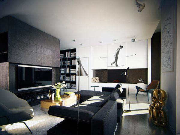 Masculine Apartment Ideas: Contemporary Art by KO KO Architects