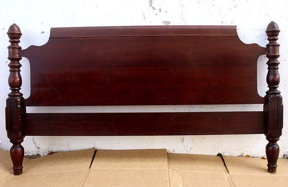 57 X32 Antique Vintage Victorian Wooden Wood Full Size Bed Foot