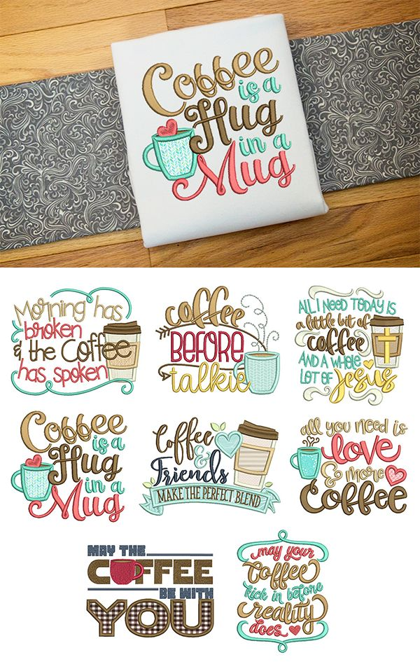 8 word art designs for your morning cup of joe! Coffee Word Art Set 1 design set available for instant download at designsbyjuju.com