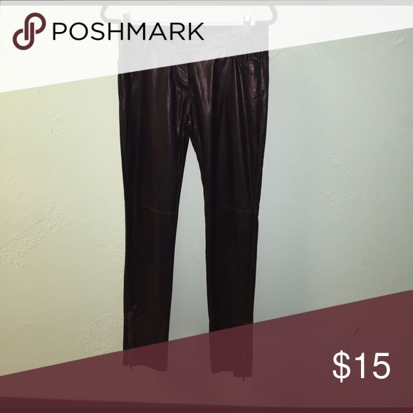 Very J: Jet black pleather leggings Hello there rockstar! If you're looking for some leather leggings look no further, with zippers going up the sides this piece will give off the perfect rocker vibe! Very J Pants Leggings