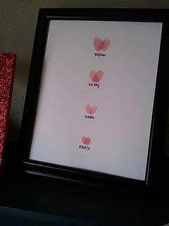 Family Fingerprint/thumbprint heart keepsake or Valentine's Day decoration.