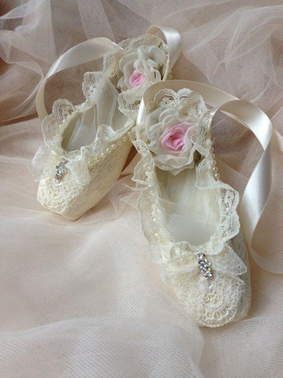 Paper mache Ballet shoes, home decor, girl room decor, ivory shoes, altered dance shoes, art shoes, pink ballet shoes