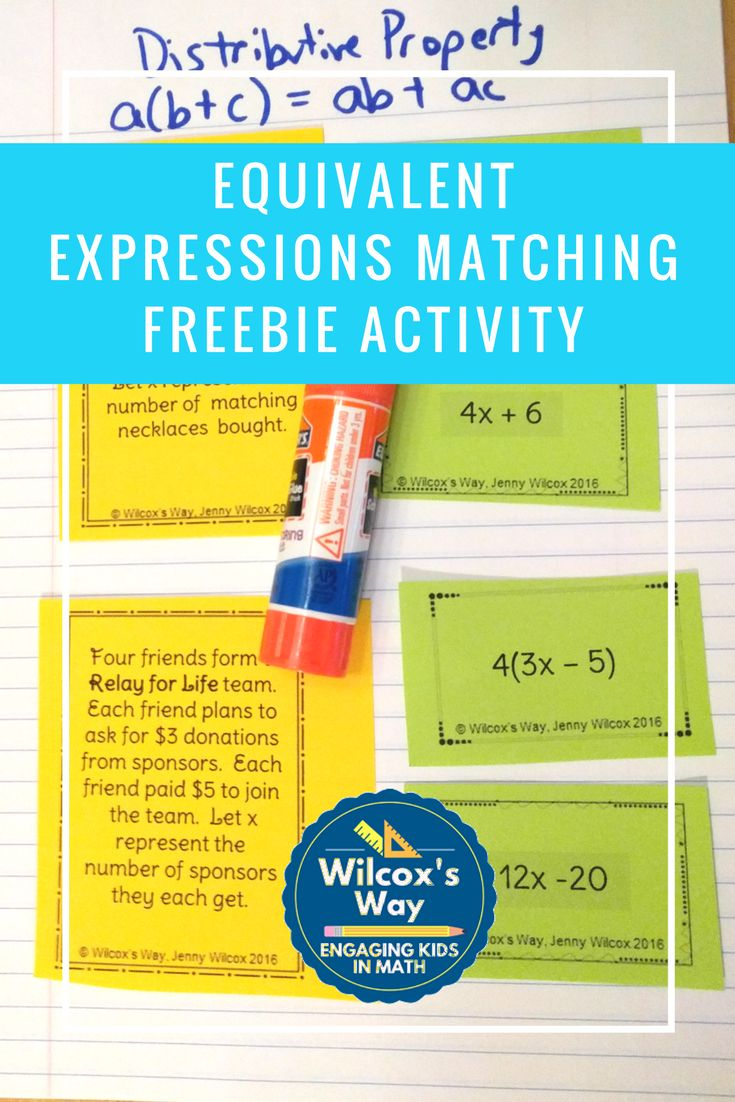 Use distributive property and combining like terms when matching equivalent expressions in this free card matching activity.