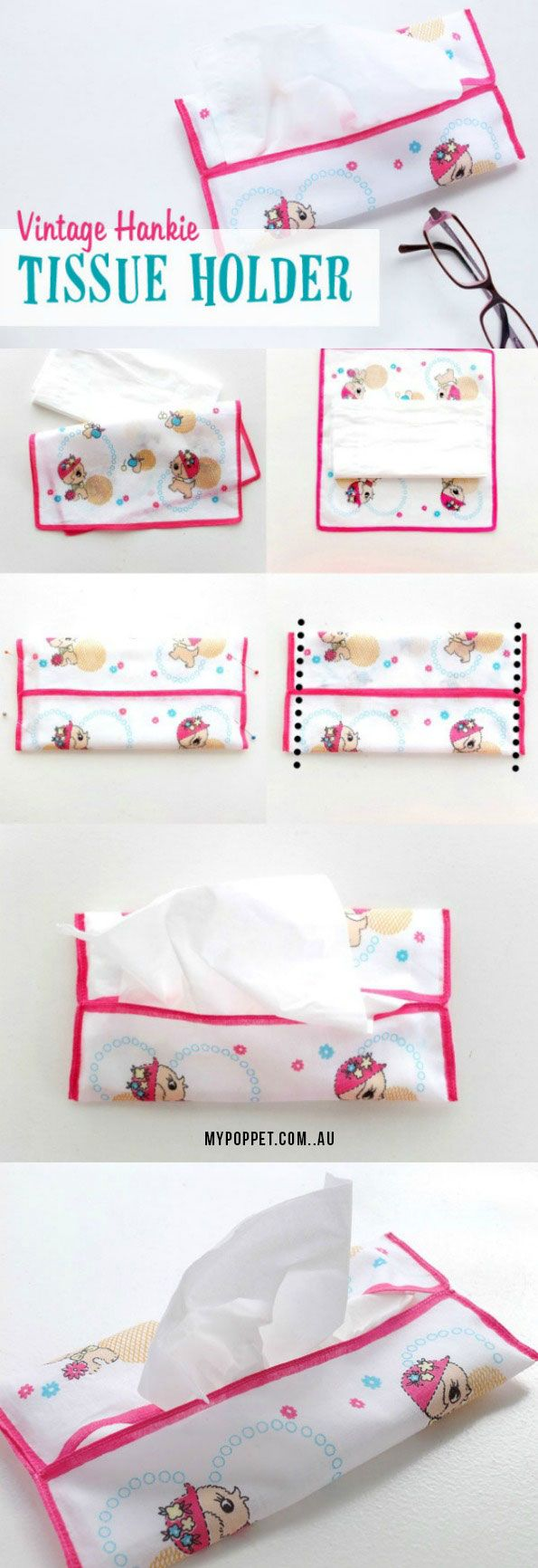 How To: Vintage Hankie Tissue Holder - perfect for travel