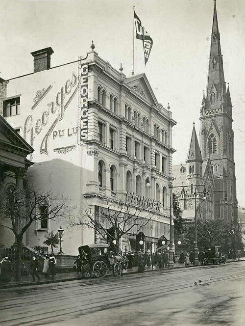 Georges Facade, c. early 1900's Melbourne Victoria. My friends and I went to Georges after college to look at the sales ladies as they all wore little white gloves even the lady who stayed in the lift taking people up and down. Georgeous and later on I worked up the Paris end of Collins Street walking distance from here.