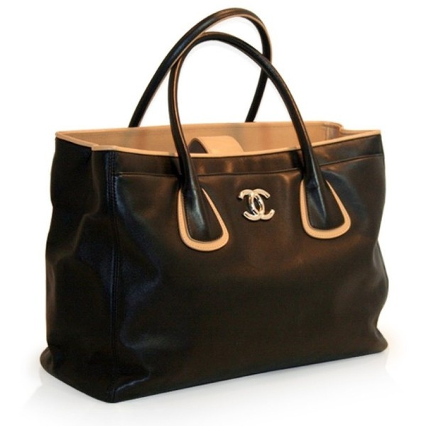 Chanel Black and Camel Leather Cerf Tote - Chanel - Brands | Portero Luxury found on Polyvore