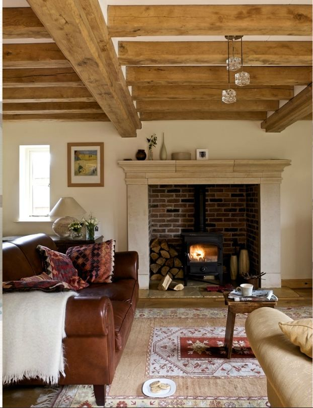 Wood stove area in fireplace - so clever!