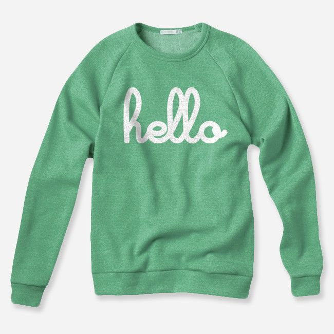Hello (Adult) Green Champ Pullover