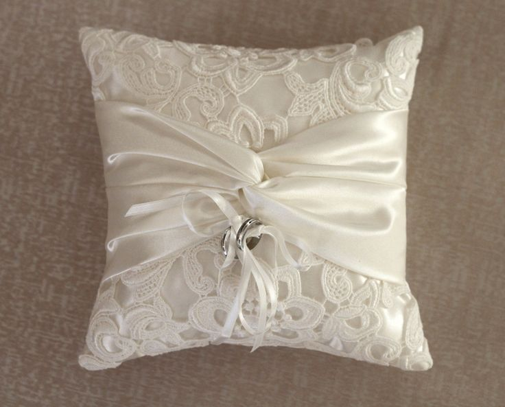 Ring bearer pillow Ivory Lace Ring Pillow. $45.00, via Etsy. Good inspiration