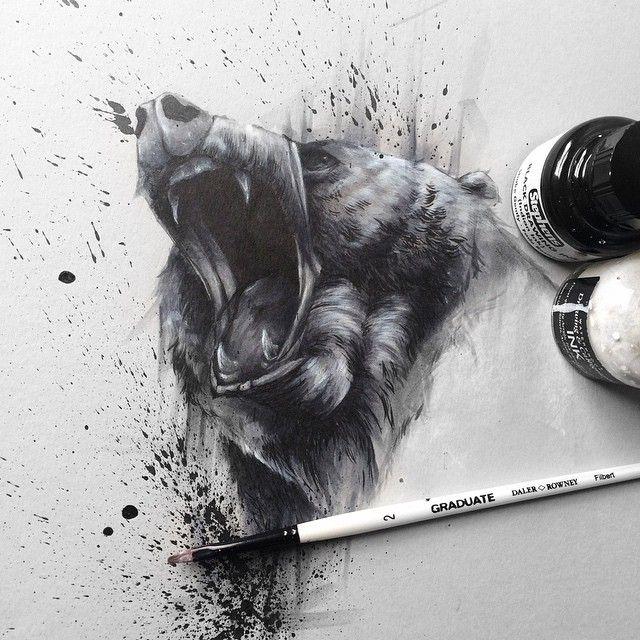 Bear on tone grey paper -