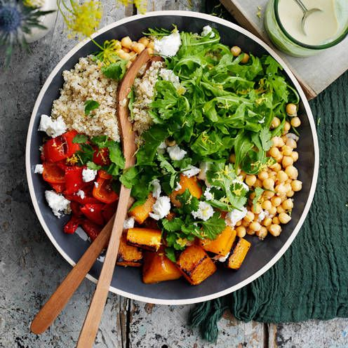 Roasted butternut squash and chickpea salad. This colourful vegetarian dish has a brilliant mix of textures and flavours.