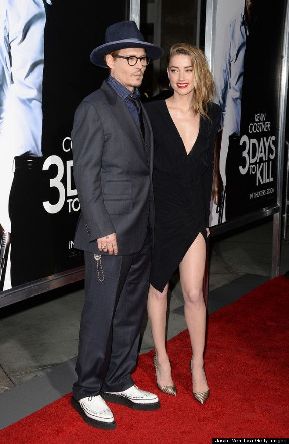 Johnny Depp and Amber Heard | Love him and love that dress.