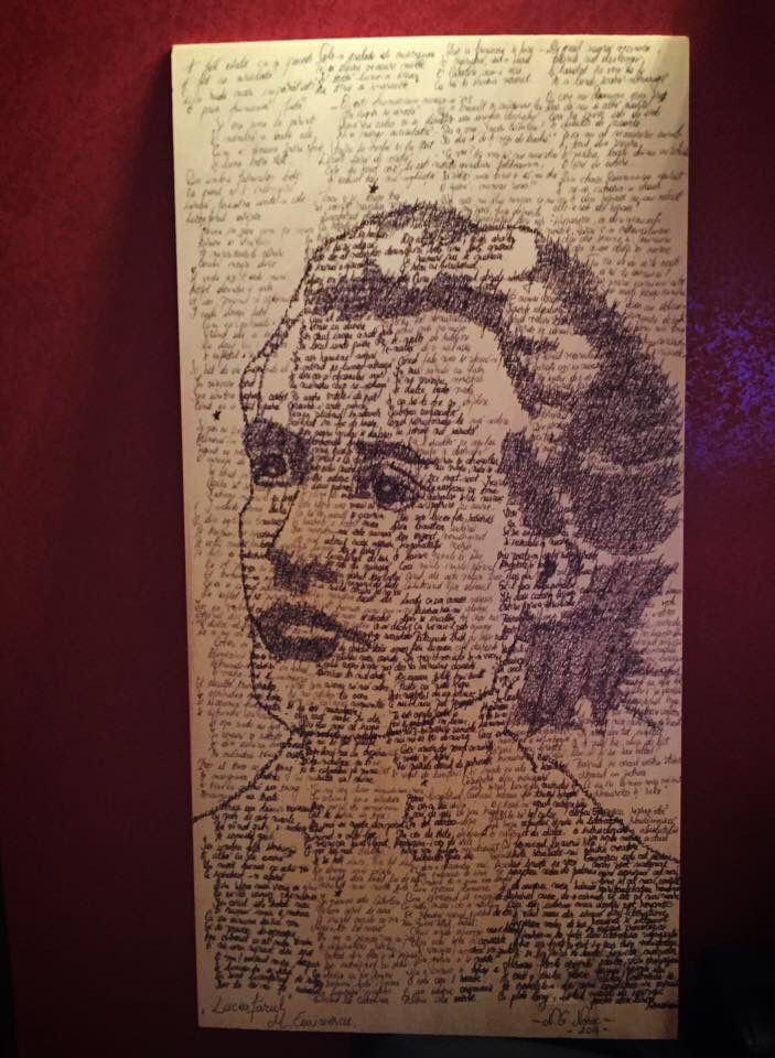 Written portrait of Mihai Eminescu ( poem Luceafarul ) 80x30 Ballpoint pen on wood