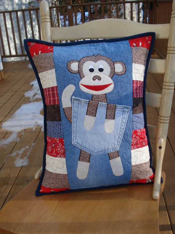 Sock Monkey Applique Pillow on Upcycled Denim by BackPocketDesign, $85.00