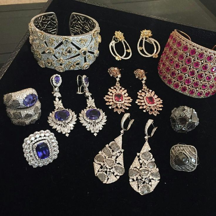 Prepping for an upcoming editor preview - which group is your favorite? #diamonds #ruby #tanzanite #sliceddiamonds #nigaamjewels #spring2016