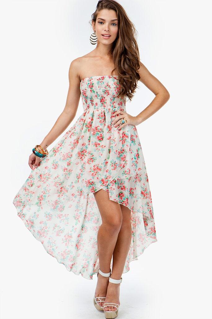 Floral Smocked Hi Low Dress