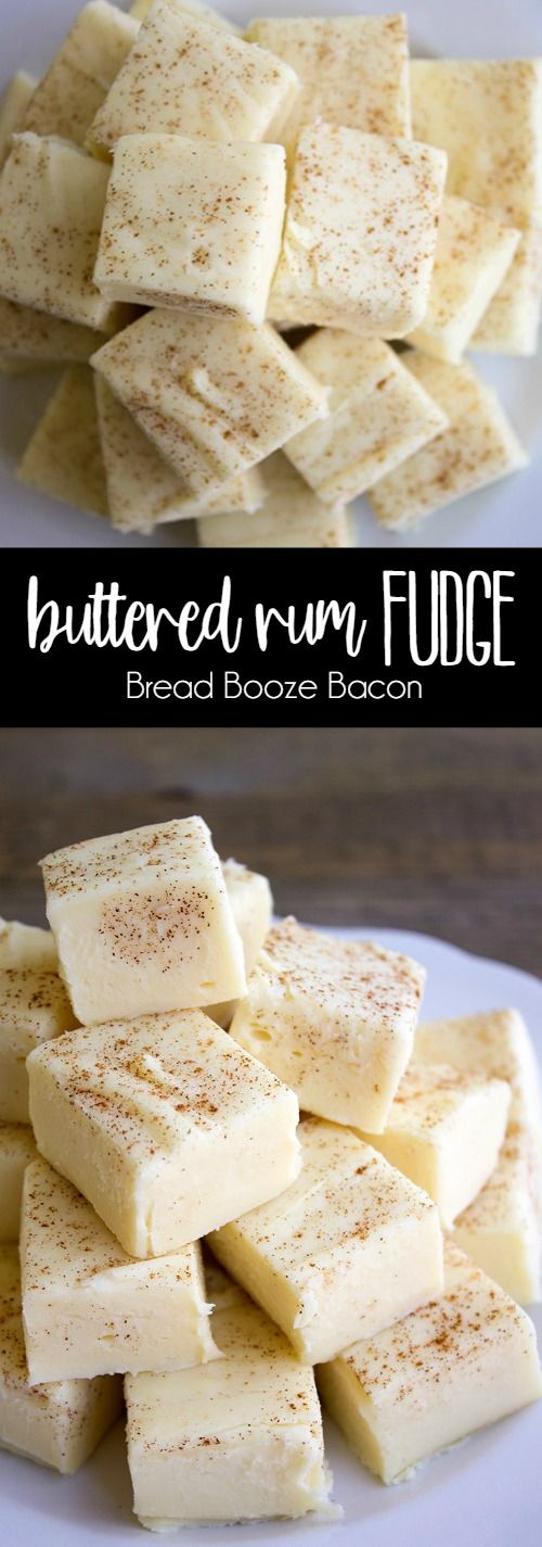 Buttered Rum Fudge is a sinfully good treat you won't be able to stop eating! Full of seasonal flavors, this easy dessert is perfect for the holidays! via @breadboozebacon