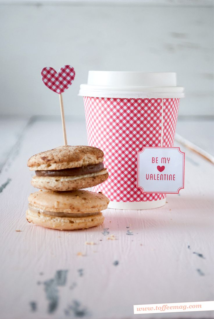 "Gingham is classic and a perfect pattern for Valentine's Day! This darling idea from Toffee Magazine for coffee cup wrappers, tea bag tags and heart dessert toppers are a super fun way to say ""Be M..."
