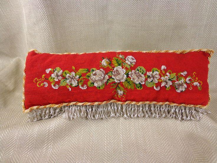 Антикварная подушка подушка бисер с бисером викторианский винтаж ручная работа красный желтый | eBay