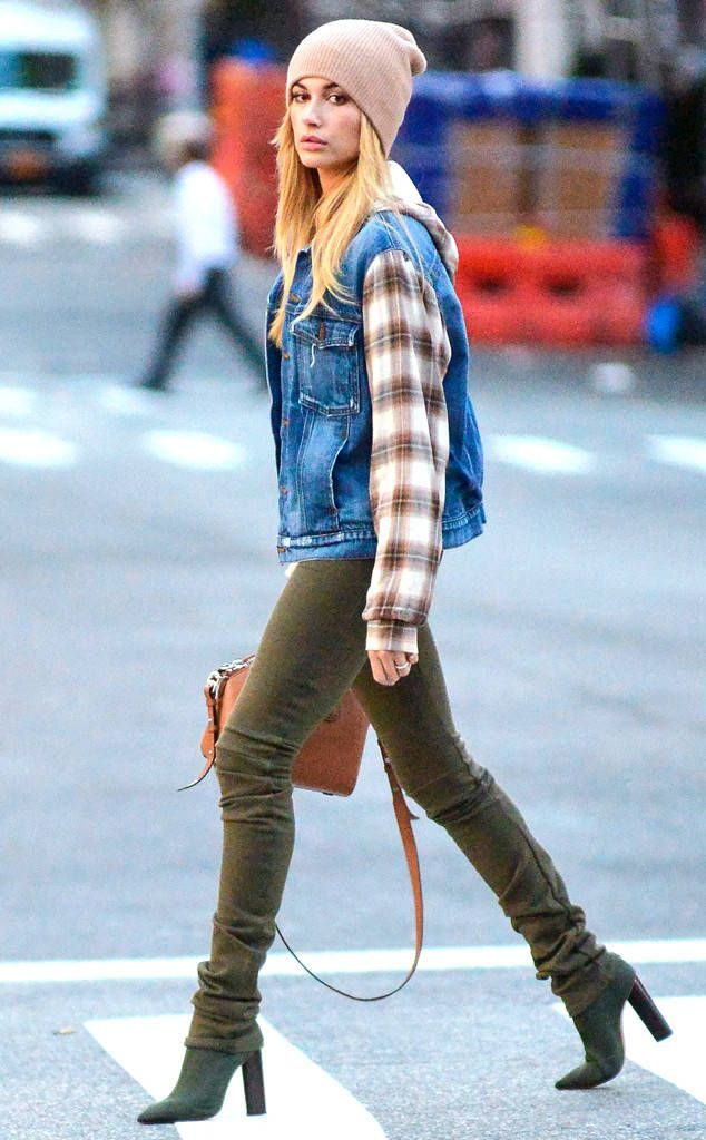 Fall Essentials from Hailey Baldwin's Street Style  Fall staples, per Hailey Baldwin: neutral beanie, plaid button-up, denim jacket, olive jeans and ankle boots.