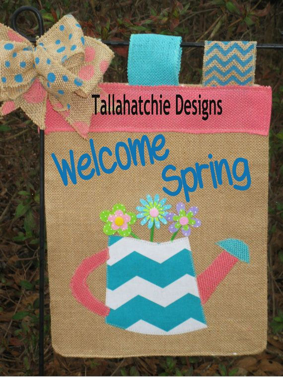 Spring Burlap Garden Flag  Welcome Garden by TallahatchieDesigns