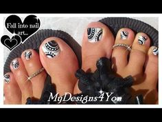 How To Toenail Art | Black and White Toenail Tutorial ♥ Черно-белый Педикюр - YouTube