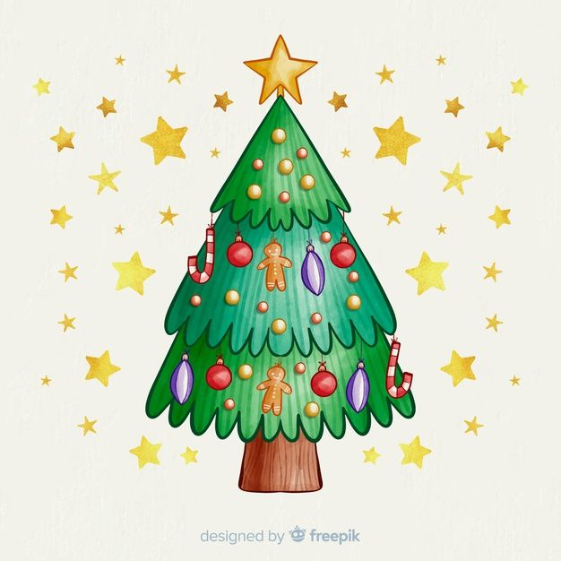 Christmas Tree With Globes And Golden St Free Vector Freepik Freevector Watercolor In 2020 Christmas Christmas Tree Christmas Vectors
