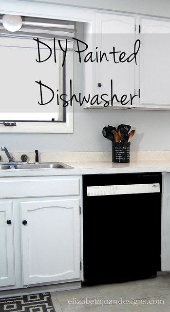 DIY Painted Dishwasher  ... using Rust-Oleum Appliance Epoxy Spray Paint ..................... #DIY