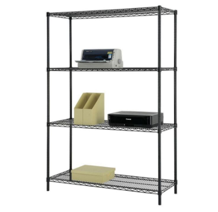 "48"" W x 60"" H x 18"" D Multi-Purpose 4-Tier Wire Shelving in Black Home Furniture"
