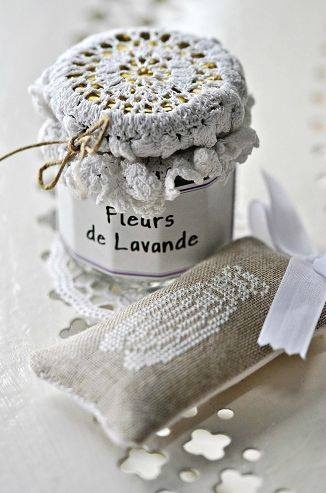 Doily into a lid of jar