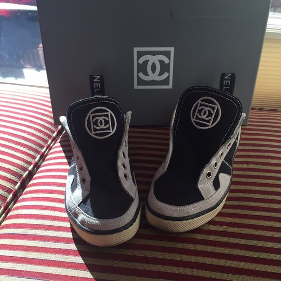 Adorable Chanel Tennis Shoes Adorable Chanel tennis shoes worn only a couple of times. They are quite small - for more like a 7 not 7.5. Purchased ten years ago from Chanel in Las Vegas. Interior of shoes is like new. Exterior is suede. Nice thick rubber sole. I do not have the laces. Box IS included. CHANEL Shoes Sneakers