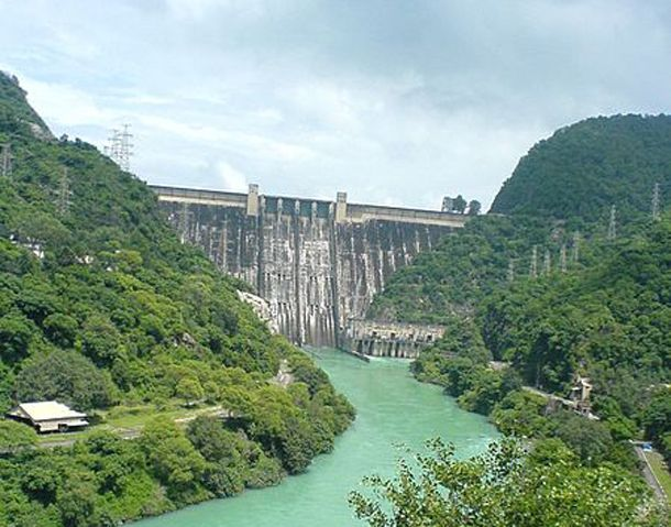 Bhakra Dam, India  This is a concrete gravity dam across the Sutlej River near the border between Punjab and Himachal Pradesh in northern India.