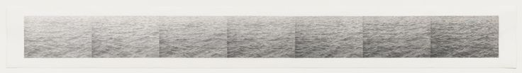"""The seven sections in Ocean: 7 Steps #2 contain a variation of the same image, each rendered in a different grade of pencil, exploring nuances of touch, texture, and darkness—pushing each to its limit,"""" as the artist has said. From left to right, the grade of pencil employed becomes progressively softer, like a scale of grays."""