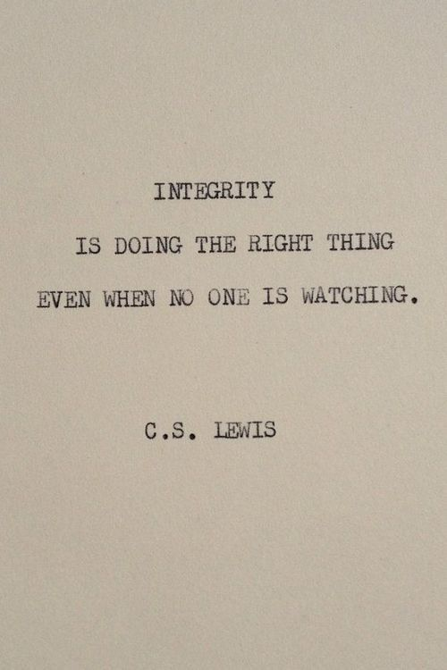 I was created in God's image. I choose to have integrity!