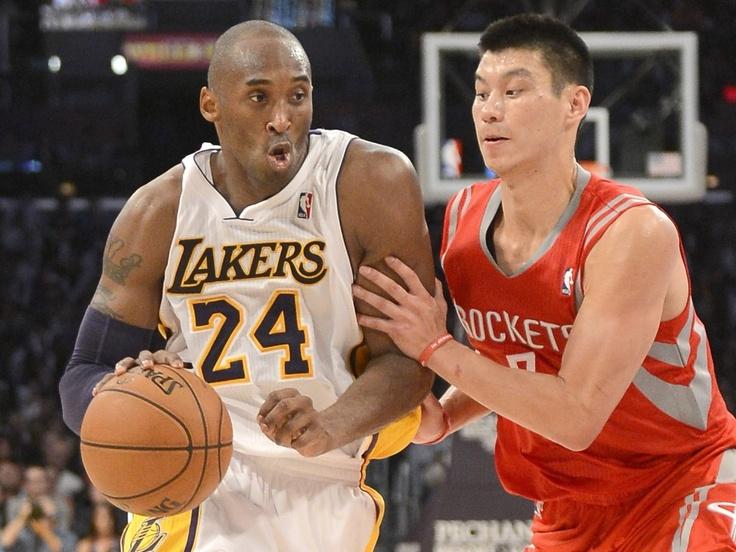 Jeremy Lin guards Kobe Bryant