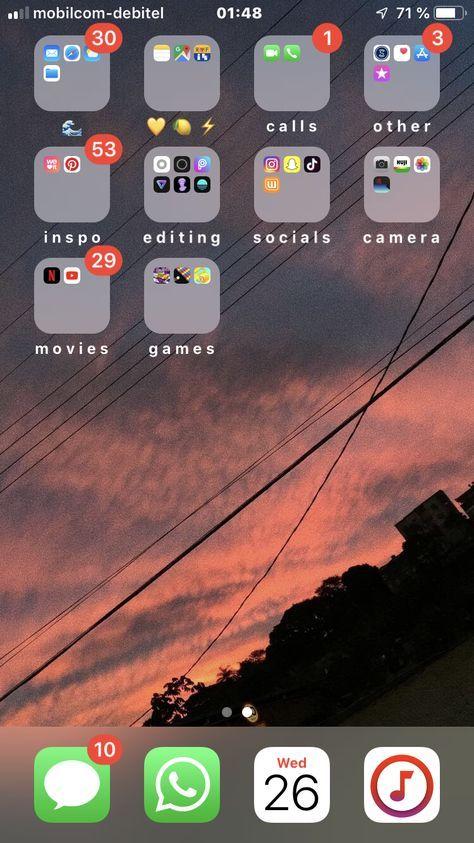 Home Screen Organization Iphone Aesthetic 32+ Super Ideas