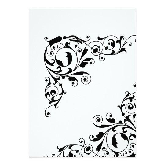 """Cena blanco y negro elegante del ensayo de los invitación 5"""" x 7"""""""