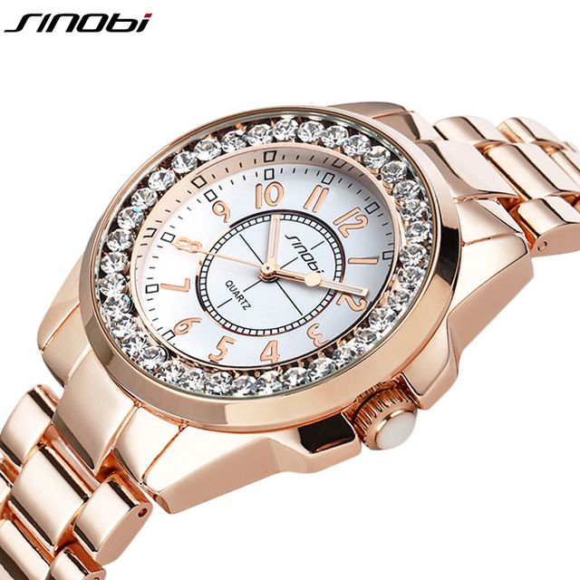 2016 New Sinobi marca de Luxo Relógio de Forma Das Mulheres Strass Relógios Vestido de Diamantes Senhoras Relógio de ouro Rosa Relógio Relogio feminino