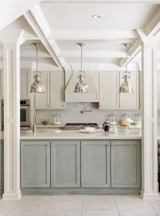 Gray Cabinets Below White Above With Tobacco Glaze My