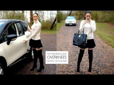 Overknees mit Minirock - Wollpullover und vier Räder - Wildleder Overknee Stiefel mit Renault #overknees #buffalo #renault