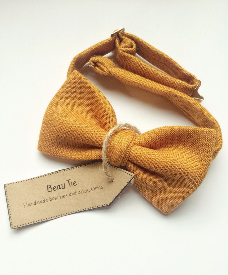 mens bow tie golden mustard yellow, deep yellow bow tie, mustard yellow, cotton bow tie by BeauTieUK on Etsy