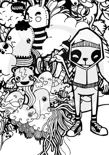 cute doodles to draw | black and white, cute, doodle, drawings, illustration, panda ...
