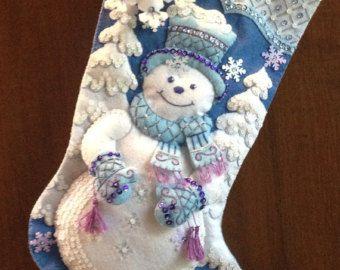 Snowflake Snowman Felt Stocking