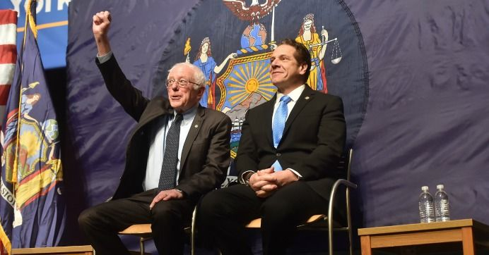 With Sen. Bernie Sanders (I-Vt.) at his side, New York Gov. Andrew Cuomo on Tuesday announced a plan to offer free tuition at state and city colleges for middle- and low-income New Yorkers.