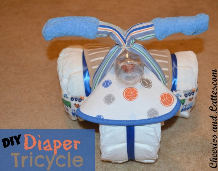 DIY Diaper TricycleShower Ideas, Diapers Baby, Gift Ideas, Baby Shower Gift, Diapers Wreaths, Diapers Cake, Diapers Tricycle, Shower Gift Decor, Diy Diapers